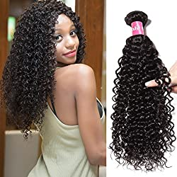 """10A Brazilian Virgin Hair Kinky Curly Hair Weaving One Bundle 24"""" Brazilian Deep Curly Hair 1B 100% Natural Human Hair Extensions Remy Hair Weave Bundles 8""""~26"""" Inch No Tangle(24inch, Natural Color)"""