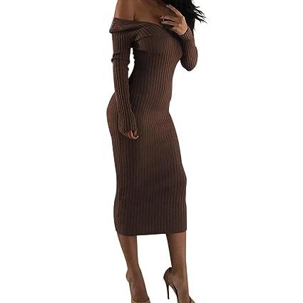 JYC Falda Larga, Vestidos Largos, Vestido Camiseta Encaje, Elegante Casual, Vestido Fiesta Mujer Largo Boda, Cuello en V Apagado Hombro Largo Manga Bodycon ...