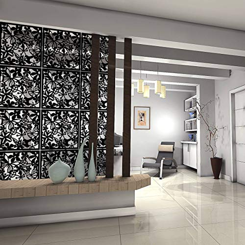 Kernorv Hanging Room Divider Made of Environmentally PVC, 12 PCS Partitions Panel Screen for Decorating Bedroom, Dining, Study and Sitting-Room, Hotel, Bar and Restaurant. (12, Black)