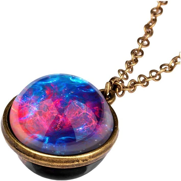FunDiscount Glow in The Dark Galaxy System Double Sided Glass Dome Universe Planet Necklace Pendant Luminous Series Fluorescent Outer Space Necklaces Jewelry Gift
