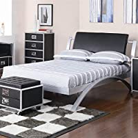 Coaster 300200T Contemporary Twin Bed, Silver/Black
