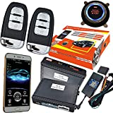 ZERTRAN Keyless Entry & Push Buton Start/Stop GPS Car Alarm System Push Button Start Passive Keyless Entry PKE Remote Car Engine Start Stop Supporting Android and IOS System Universal Version 688AN