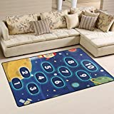 WellLee Area Rug,Outer Space Hopscotch Game Floor Rug Non-Slip Doormat for Living Dining Dorm Room Bedroom Decor 31x20 Inch