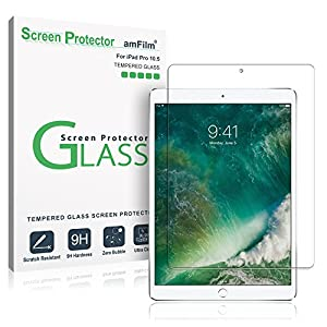 """iPad Pro 10.5 inch Screen Protector Glass, amFilm Tempered Glass Screen Protector for Apple iPad Pro 10.5"""" 2017 Case Friendly and Apple Pencil Compatible 0.33mm 2.5D Rounded Edge (1-Pack)"""