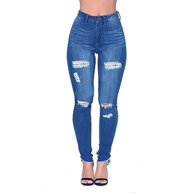 41cac762ed Womens Blue Distressed Ripped Skinny Stretch Jeans Butt Lift Leggings Super  Comfy Denim Pants (Dark