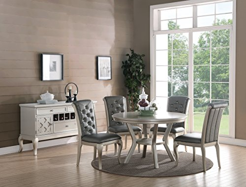 Table Dining Veneer Birch Round - Formal Luxurious 5pc Dining Set Antique Silver Finish Upholstered Tufted Chairs Round Dining Table Kitchen Dining Room Furniture