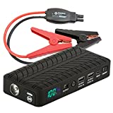 Rugged Geek INTELLIBOOST 600A Portable Jump Starter and Power Supply with LCD Display. USB Laptop Charging. Emergency Auto Jump Pack for Cars, Trucks, SUVs and more.