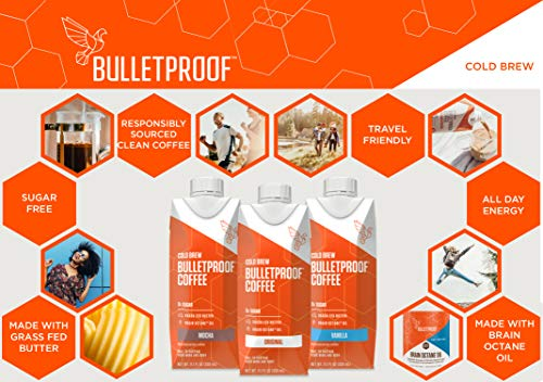 Bulletproof Cold Brew Coffee, Keto Friendly, Sugar Free, with Brain Octane oil and Grass-fed Butter, (Mocha) (12 Pack) by Bulletproof (Image #3)