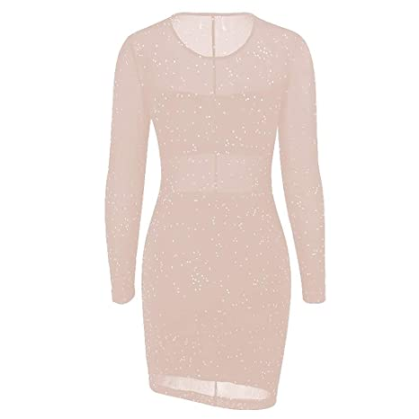 7d4d3766de Auied Sexy Dresses for Women for Party Night Dress Bodycon Ladies Long  Sleeve Short Party Club wear Mini Dress Mesh Sequined lace Dress   Amazon.co.uk  ...