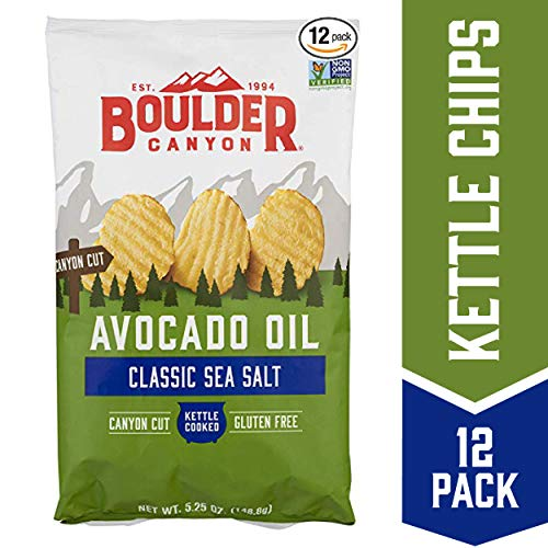 Boulder Canyon Avocado Oil Kettle Cooked Potato Chips, Sea Salt, Wavy Cut, 5.25 oz. Bag, 12 Count - Crunchy Chips Cooked in 100% Avocado Oil, Perfect for Dipping, Great for Lunches or Snacks