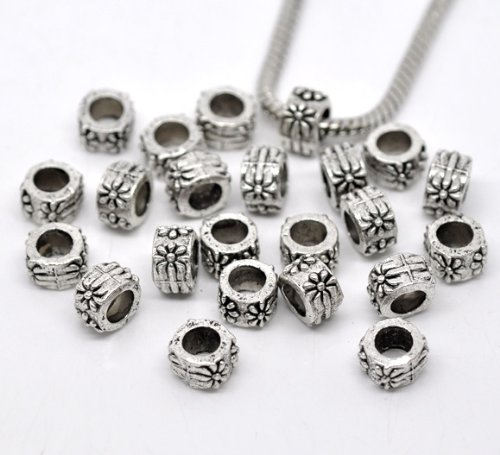 50pc Antique Silver Flower Carved Pattern Spacer Beads Tube Large Hole Fits (Large Flower Spacer)