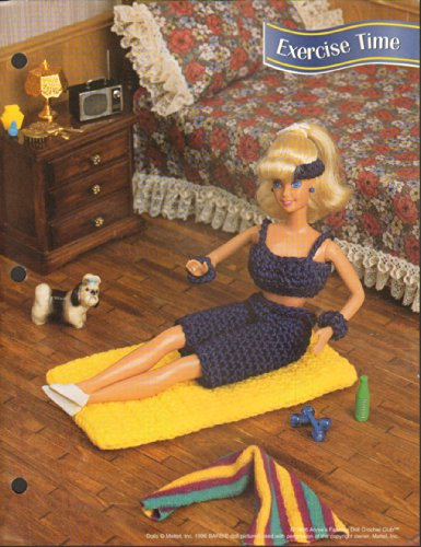 1997 Annie's Attic Fashion Doll Crochet Club Pattern Leaflet, Exercise Time Workout Mat & Outfit Pattern, for 11 1/2