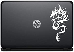 Dragon Silhouette Left Version 3 Vinyl Decal Sticker for Computer MacBook Laptop Ipad Electronics Home Window Custom Walls Cars Trucks Motorcycle Automobile and More (White)