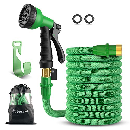 SingPad Garden Hose,100ft Expandable Water Hose, On/Off Valve,3/4″ Solid Brass,Durable, Kink-Free Hose end 8-Pattern Spray Nozzle and Hose Storage Bag (100ft Green)