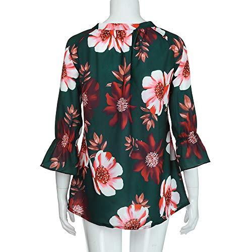 Chemisier 4 Femme Manches Imprim Imprim Vin Bouton Rougert 3 Blouse Floral qAw8xZp