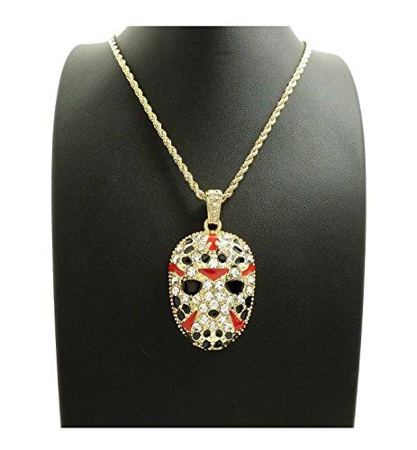 Cuban Pendants - Shiny Jewelers USA MENS ICED OUT RAPPER MASK HIP HOP PENDANT 24