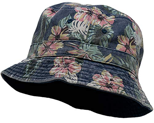 SH-220-RF31-SM Vintage Fitted Safari Bucket Hat: Reversible Floral/Navy (S/M)