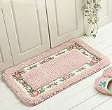 KEANER Lovely Gift 1Pc Soft Floral Rose Rural Style Bathroom Floor Mat Non-Slip Rug (Color : Pink)