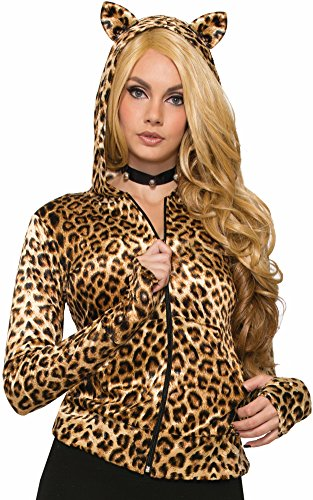 Leopard Hoodie (Adult's Womens Leopard Print Cat Hoodie With Ears Costume Accessory)