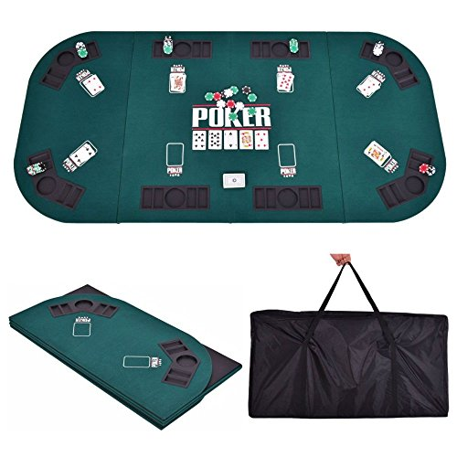 Folding Four Fold 8 Player Poker Table Top & Carrying Case Portable Green New by Unknown