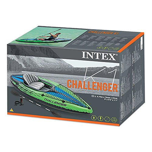 Intex Challenger K1 Kayak, 1-Person Inflatable Kayak Set with Aluminum Oars and High Output Air Pump by Intex (Image #4)