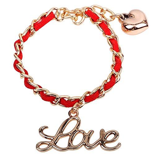 Winter's Secret Alloy Love Letter Pendant Red Lint Adjust Girl Friendship Handmade Heart Link Bracelet