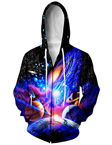 Sweatshirt Print Jersey - RAISEVERN Unisex Digital Fashion Teens Lightweight Galaxy Blue Print Zip Sweatshirt Hoodies XX-Large