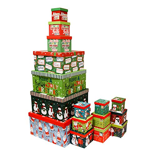 Christmas Boxes, 16 Count Nested, Assorted Large Set with Many Sizes and Prints, fits in one Box (Holly Jolly)