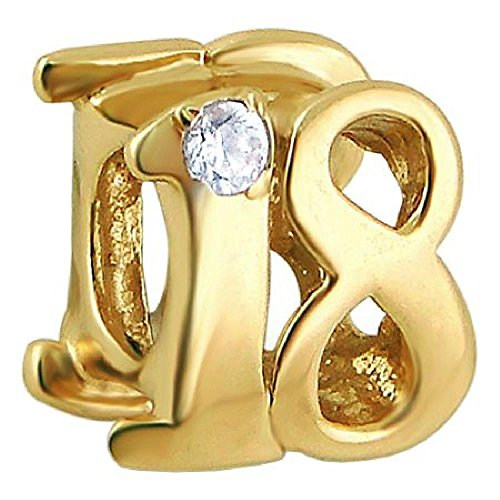 So Chic Jewels - Vermeil - Silver Gilt (18k Gold over 925 Sterling Silver) Charm Bead - 18th Birthday White Cubic Zirconia - Charms Compatibles Pandora, Trollbeads, Chamilia, Biagi ()