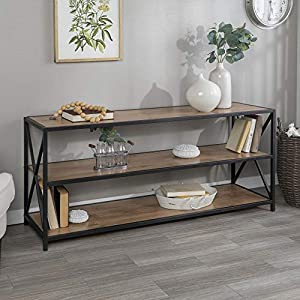 Walker Edison 2 Shelf Industrial Wood Metal Bookcase Tall Bookshelf Storage Home Office, 60 Inch, Barnwood