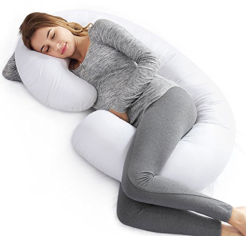 AngQi C Shaped Pregnancy Pillow - Maternity Pillow - for Back Pain and Pregnant Women - with Washable Cotton Cover - White