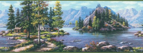 Brewster 145B87725 Northwoods Lodge Bunyan Blue Mountain Cabin Border Wallpaper