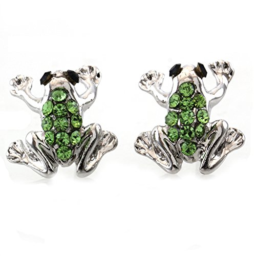 Soulbreezevpllection Green Frog Earrings Stud Post Style Toad Animal Fashion Jewelry