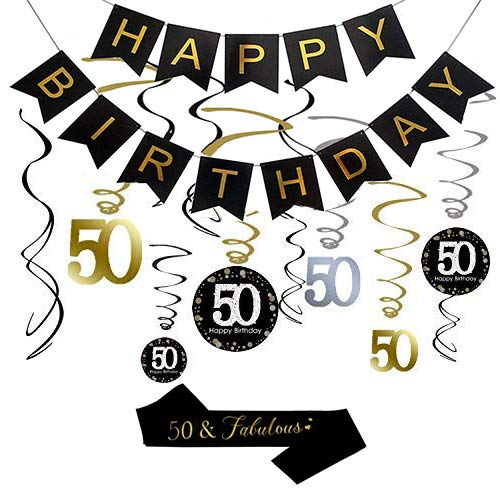 (50th Birthday Party Decorations, 50th Birthday Gifts for Women/Men, Happy 50th Birthday Banner, Sparkling Celebration 50 Hanging Swirls, 50 and Fabulous Sash, 50th Birthday Party Supplies Anniversary)