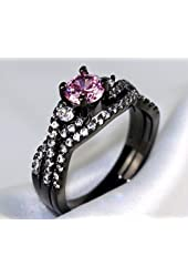 Gy Jewelry 2 in 1 Ring Sets Round Pink Sapphire Black Gold Filled Cross Women's Wedding Ring Engagement Gifts