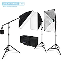 Julius Studio 20 x 28 Inch Soft Box with Bulb Socket Lighting Kit with Boom Stand and Slope Arm Bar, 1200W Output Softbox Light for Video Camera Photography, Photo Portrait Studio, JSAG394