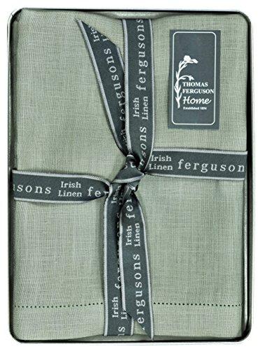 Thomas Ferguson - Gentlemen's P1182 Green/Grey Hemstitched Irish Linen Handkerchief - Pack of 2 in Gift Box ()