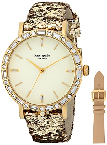 kate spade new york Women's 1YRU0602A Metro Grand Analog Display Japanese Quartz Beige Watch