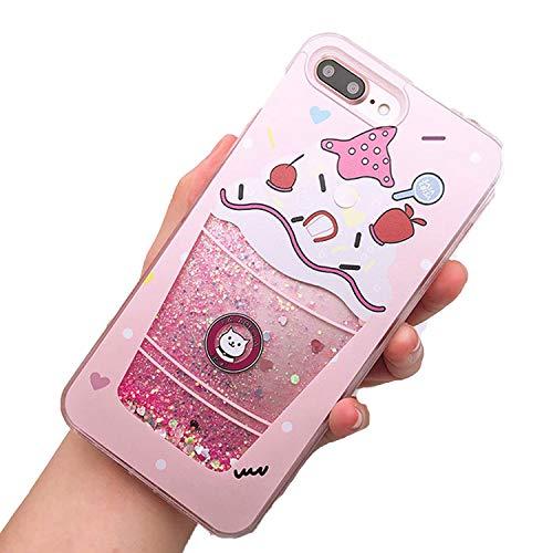 - 6 S,1 6S 7 8 Plus X Cases Bear Soft PC Clear Bottle Dynamic Liquid Quicksand,Cat Ice carme Pink,Plus 6S