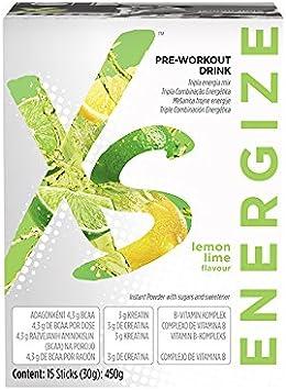 Bebida Pre-Entrenamiento XS Sabor Lima-Limón 15 Sticks (30gr.):450 gr.Está pensada para aportarte los nutrientes clave que necesitas antes del ...