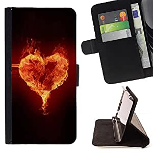 DEVIL CASE - FOR Apple Iphone 5C - Fire heart - Style PU Leather Case Wallet Flip Stand Flap Closure Cover