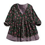 Women'S Floral Cotton And Linen Double Fake Two-Piece Loose V-Neck Jacket Blouse