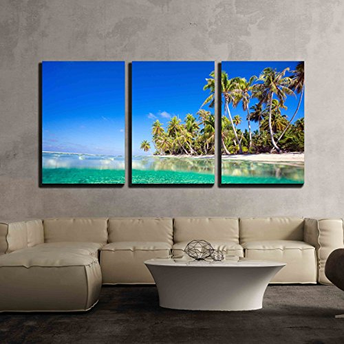 wall26 - 3 Piece Canvas Wall Art - Beautiful Tropical Island at Tikehau Atoll in French Polynesia - Modern Home Decor Stretched and Framed Ready to Hang - 16