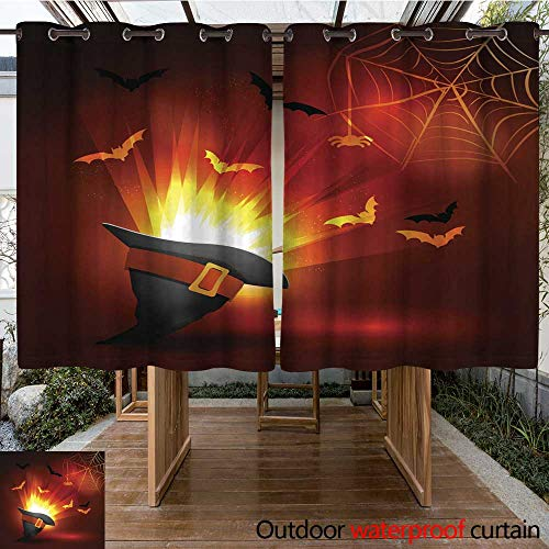 RenteriaDecor Home Patio Outdoor Curtain Halloween Party Bright Picture W84 x L72