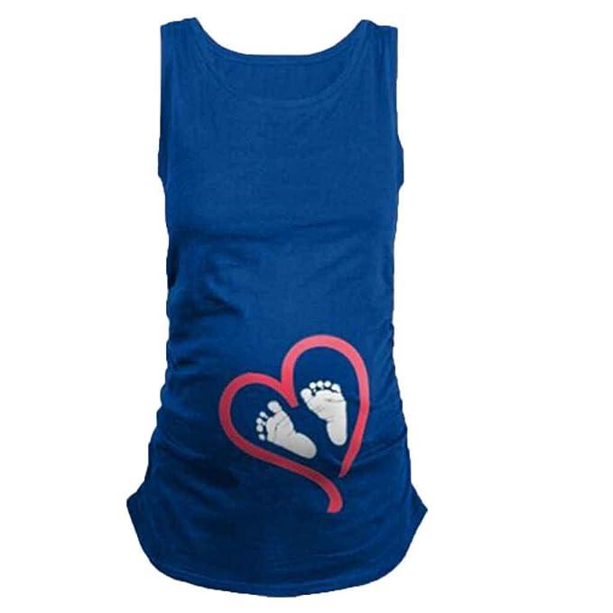 Mengonee Camisetas de Las Mujeres Embarazadas Camiseta Suave del Embarazo del bebé del corazón de Maternidad