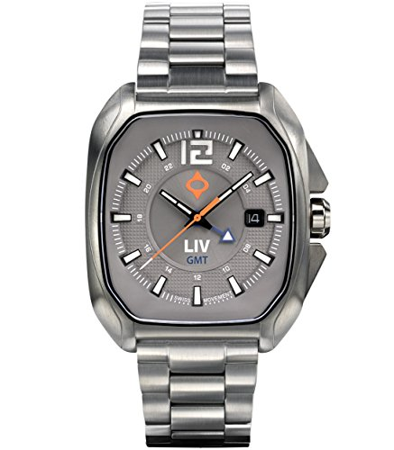- LIV Rebel-GMT Swiss Dual Time with 24 Hour Function - Analog Display Casual Rectangular Watch for Men - 300 feet Waterproof - Limited Edition to 1,500 Pieces - Cosmic Gray