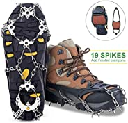 MIABOO Ice Cleats Crampons Traction Sonw Grips with 19 Stainless Steel Spikes and Durable Silicone, Shoe Talons Anti-Slip Bo
