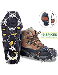 Ice Cleats Crampons Traction Sonw Grips with 19 Stainless Steel Spikes and Durable Silicone, Shoe Talons Anti-Slip Boots Spikes for Hiking Fishing Walking Climbing Mountaineering