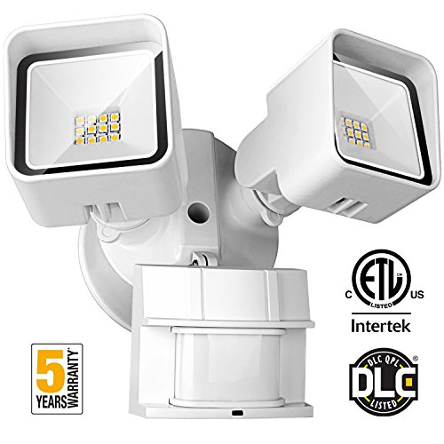 FrenchMay LED Motion Sensor Security Light, 20W 2000 Lumens, 5000K, 250W Equivalent IP65 Waterproof and Weatherproof, ETL/DLC Approved outdoor Flood Light, with Adjustable Sensor, White Dust Proof Outdoor Housing
