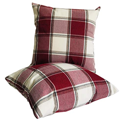 ULOVE LOVE YOURSELF Tartan Checkered Pillow Covers Only Farmhouse Decor Retro Buffalo Check Plaid Decorative Cushion Cover Throw Pillowcase 18 x 18 Inch,2Pack for Couch Sofa Bed (D-Red)